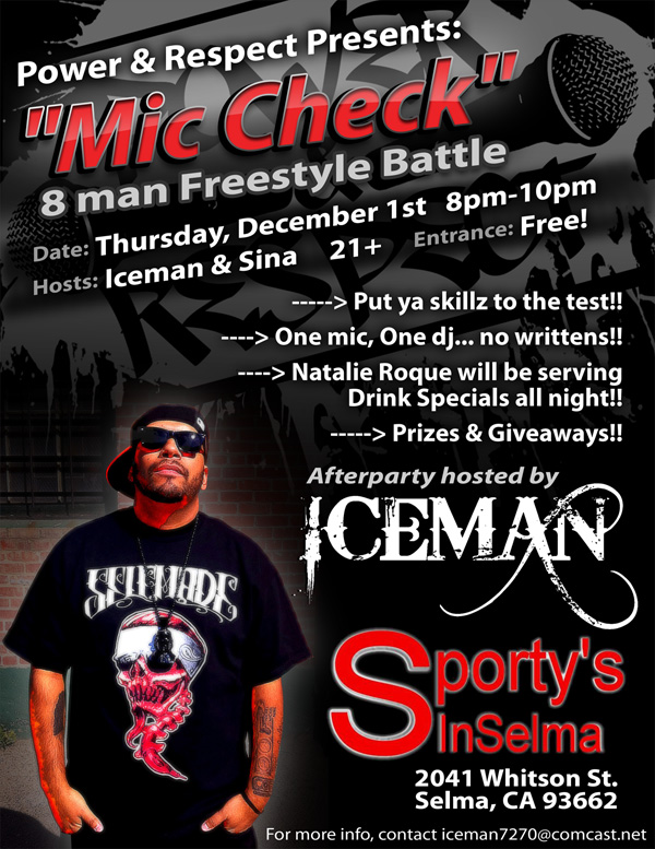Power & Respect presents: MIC CHECK 8 Man Freestyle Battle on December 1st, 2011